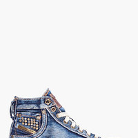 Diesel Denim Mid Exposure Sneakers for women | SSENSE