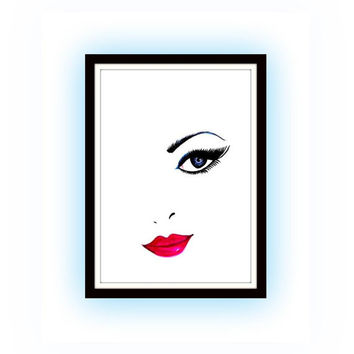 Woman face, Eye lashes lips, watercolor painting, Makeup fashion, Wall decor, room decal decals, print, minimalist, lip poster, chanel art