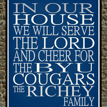 Customized Name BYU Cougars - Brigham Young University personalized family print poster Christian gift sports wall art - multiple sizes