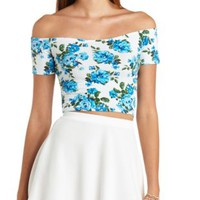 Floral Print Off-the-Shoulder Crop Top - White Combo