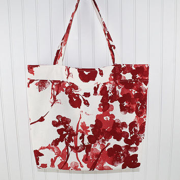 Red Floral Large Tote Bag, Large Farmers Market Bag, Reusable Grocery Bag, MK115