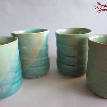 Set of 4 Tumblers - Seafoam and Green