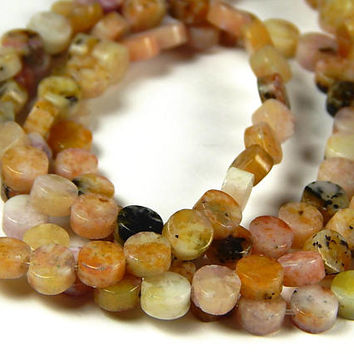 15 Inch Strand - 5x5x3mm Natural Pink Jasper Button Beads - Coin Beads - Gemstone Beads - Jewelry Supplies