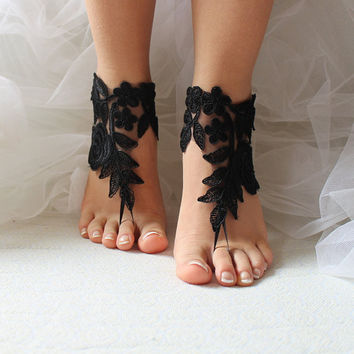 Black,   lace,    wedding sandals,    bridal accessories,   beach sandals,    free shipping!