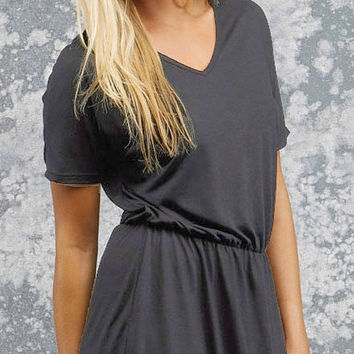 Bella V-Neck Dress - Gray