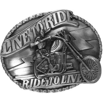 Sports Accessories - Live to Ride Motorcycle Skeleton Antiqued Belt Buckle