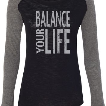 Womens Yoga T-shirt Balance Your Life Preppy Patch Elbow Tee