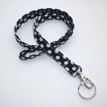 Lanyard  ID Badge Holder - NEW THINNER design - White Polka Dots on black  - Lobster clasp and key ring