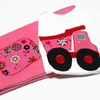 Baby Girl Outfit,Baby Girl Clothes,Dump Truck for Baby Girl, Pink Dump Truck