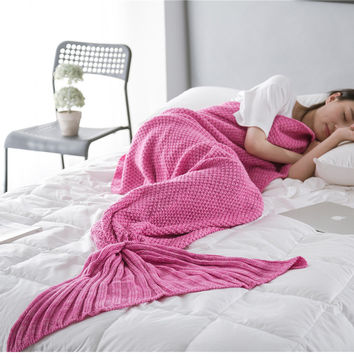 Soft Handmade Knitted Mermaid High Quality Tail Blanket Adults Mermaid Blanket