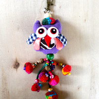 Pompom Owl Keychain. AVAILABLE IN OTHER COLORS