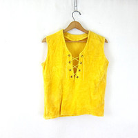 60s Lace Up Front shirt velour crushed velvet top 70s yellow sleeveless blouse pirate shirt top cropped Retro Vintage Hippie Womens Medium