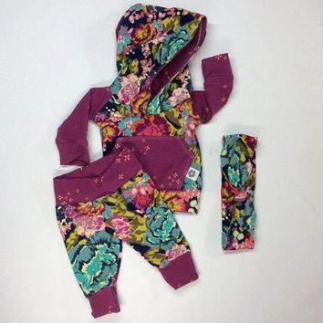 USA Newborn Baby Girls Long Sleeve Hooded Tops Pants Legging Outfits Clothes wea