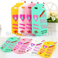 Fashion 3D Cute 100% Boys Tears Milk Box Soft Silicone Case Skin Back Cover For iPhone  6 Plus 5 5S Cell Phone Cases