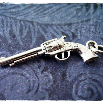 Silver Six Shooter Gun Necklace - Silver Pewter Six Shooter Gun Charm on a Delicate 18 Inch Silver Plated Cable Chain