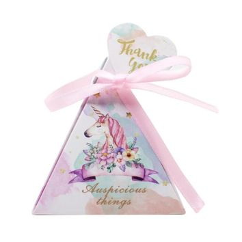 Unicorn Triangular Pyramid Wedding Favors Candy Boxes Bomboniera Party Gift Box beer Chocolate Box With Ribbons & Tags