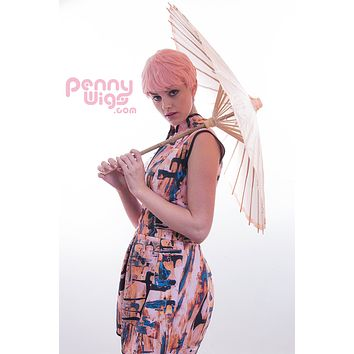 Pastel Pixie- Short Pink Full Wig