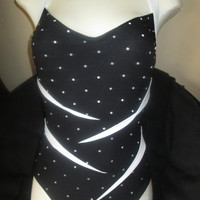 SALE WHITE SLASH polka dots vtg 80s 90s 10 M high waist v cut one piece 1 pc swimsuit bikini women g6