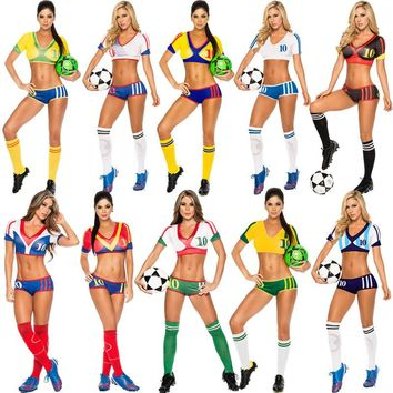 2018 New World Cup Football Baby Costume Modern Hiphop Clothing For Girl Sexy Cheerleader Costumes