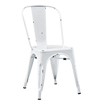 Metal Cafe Chair - Antique White