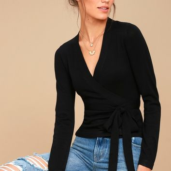 All Wrapped Up Black Long Sleeve Sweater Top