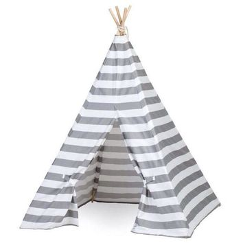 Kids Gray and White Stripe Teepee