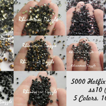 5000pcs Hotfix ss10 Crystal Rhinestones, 3mm Hotfix Rhinestones, 5 colors 1000pcs each, jet black, mine gold, silver, Amethyst, Jonquil