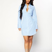Gabby Striped Dress - Blue/White