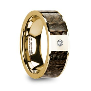 Brown Dinosaur Bone Gold Ring with White Diamond, 14K
