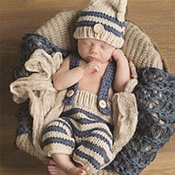 0 4m Newborn Baby Photography Props Infant Knit Crochet Costume Blue Striped Soft Outfits Elf Button Beanie+pants