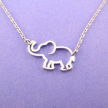 Minimal Baby Elephant Outline Shaped Pendant Necklace in Silver | Animal Jewelry