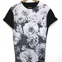 Monochrome Rose Black All Over T Shirt