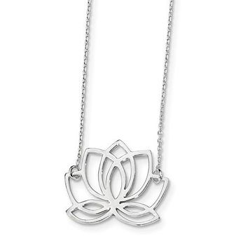 Sterling Silver Openwork Lotus Flower Pendant 18 Inch Necklace