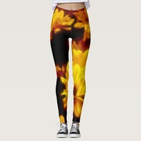 Yellow and black fire flowers leggings