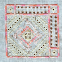 Ring Bearer's Pillow Top - Hand Cross Stitch in Peach and White - Crafting Supply - Can/US Free Shipping