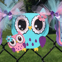 Owl baby shower banner, mom and baby owl, it's a girl banner, lavender, teal and pink