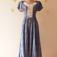 My Summer Bohemian Dress Dolly Sleeve Hippie Dress Tribal Clothing Gypsy Look Dress Denim Dress Bohemian Dress Hippie Dress -Free Size -