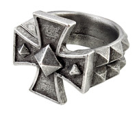 Alchemy Gothic Cross of Iron Ring w/ Spikes