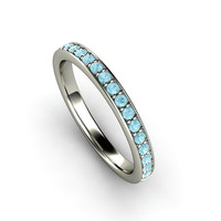 Aquamarine Anniversary Band Aquamarine Ring Aqua Wedding Band 14K Gold or Palladium March Birthstone