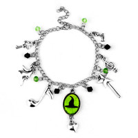 Hand Stamped Wicked Charm Bracelet Defy Gravity Elphaba Glinda Crystal Beads Bracelets Bangles Wicked the Musical Bracelet
