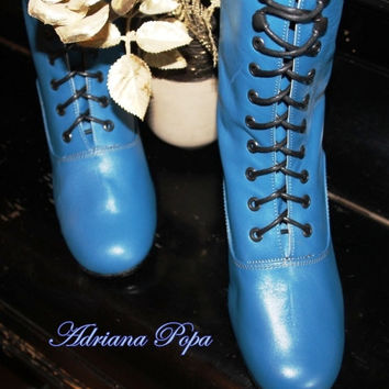 SALE SALE  Turquoise Victorian Boots lace up in Turquoise leather Ankle boots sale only for stock size