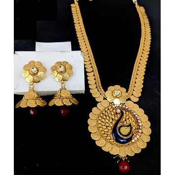 Traditional Goddess Lakshmi Coin design Long haram chain with Peacock Pendant necklace and Jhumka earring set - Design 1