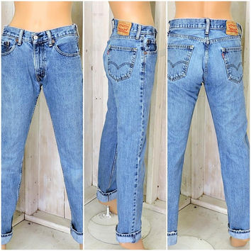 Vintage Levis 505 jeans 29 X 34 size 5 / 6 / LEVI'S  100% cotton / high waisted / medium wash / straight leg