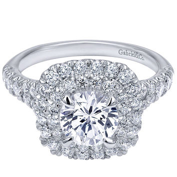 "Gabriel ""Norah"" Cushion Shaped Double Halo Diamond Engagement Ring"