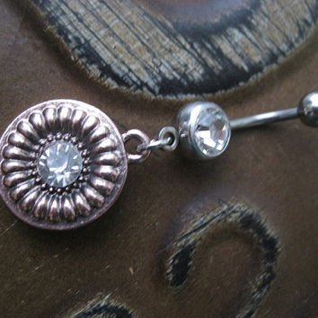 Belly Button Ring- Copper Sun Flower Aztec Medallion Sheild Double Clear Gem Navel Piercing