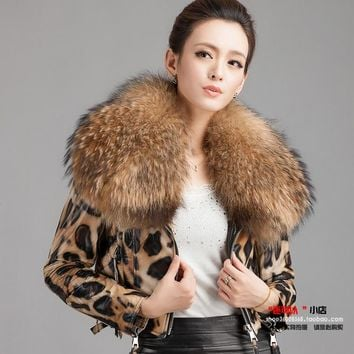 Leopard Fur Casual Sheepskin Coat Women Winter Leather Jacket Women Winter Short Thick Genuine Leather Jacket Women Winter Coat