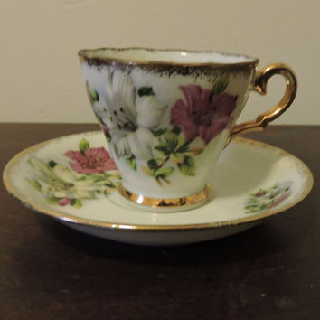 Vintage Porcelain Chase Japan White Dark Pink Gold Trim Morning Glory Miniature Tea Cup & Saucer