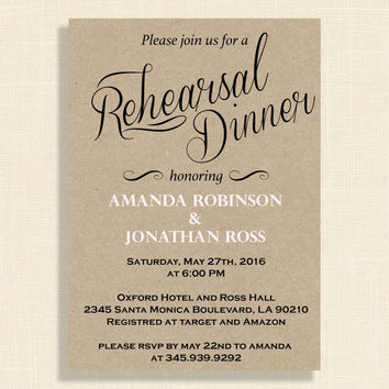 Kraft paper rehearsal dinner invitations, DIY Rustic Wedding Invitation Printable, DIY Editable Kraft invitation, Art Party Invitation