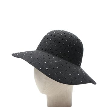 Gucci Black Crystal Studded Wool Wide Brim Hat | Bluefly