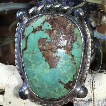 Early Navajo Turquoise Ring Sterling Silver